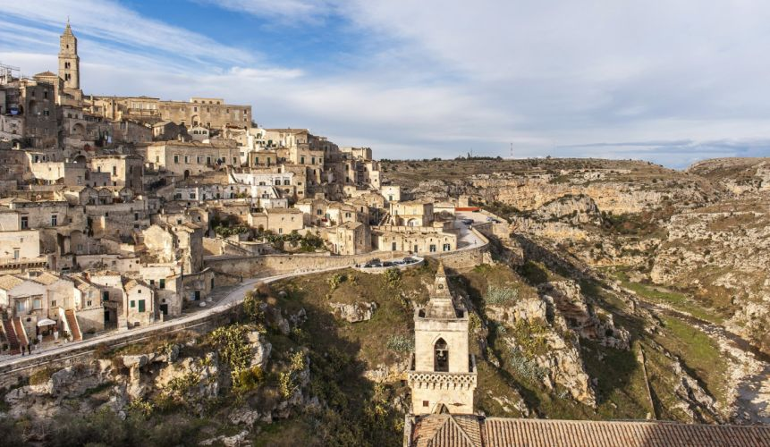 landscape Italy Houses Matera Cities wallpaper
