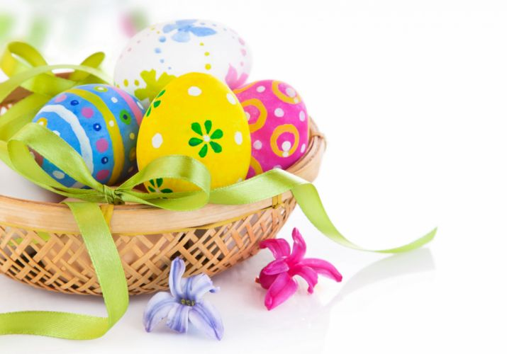 knot Holidays Easter Wicker basket Eggs Bowknot wallpaper
