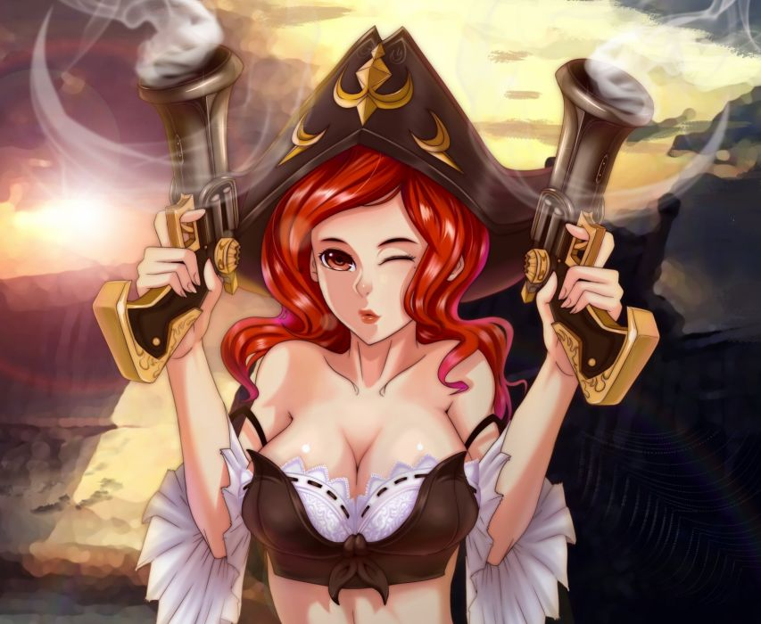 League of Legends Pistol Pirates Hat Redhead girl Games Girl pirate fantasy weapon gun wallpaper