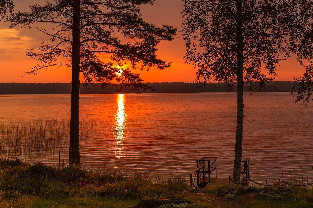 landscape nature sunset sun lake Finland wallpaper