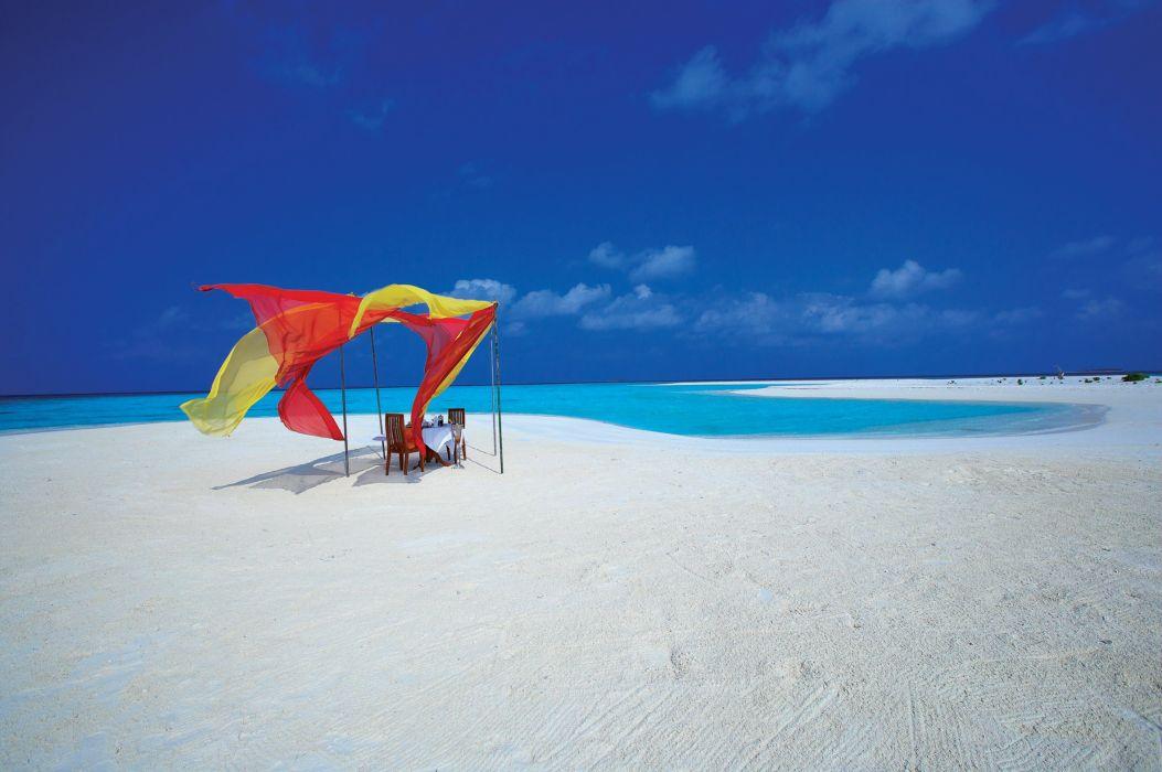 Maldives ocean beach sand water clouds chairs tropical wallpaper
