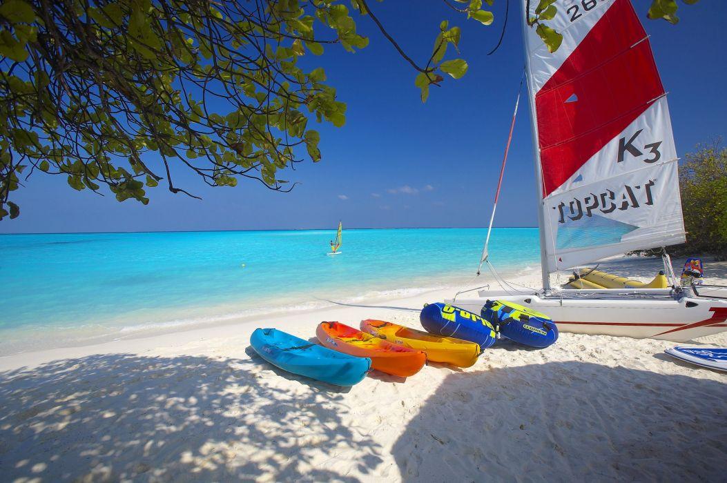 Maldives ocean sun sand beach catamaran sailing banana tropical wallpaper