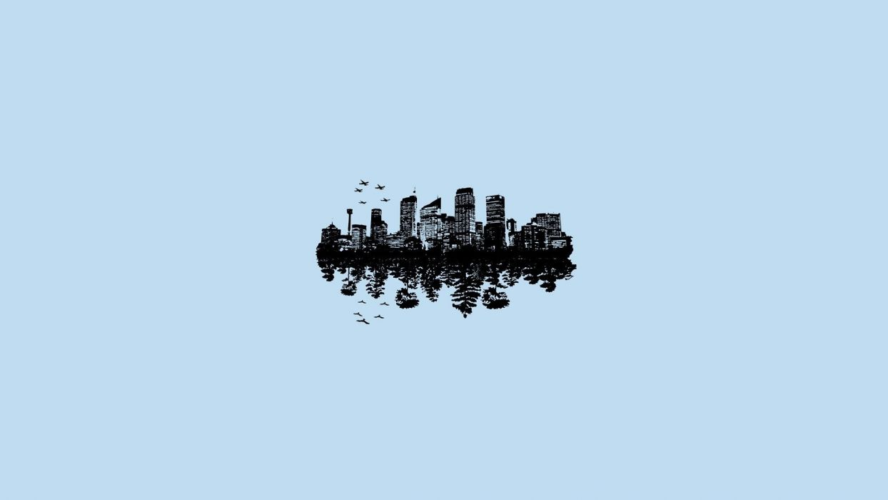minimal city reflection forest airplanes birds wallpaper