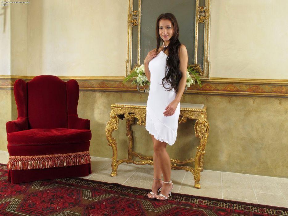 Melisa Mendiny Brunette girl Dress Armchair Girls wallpaper