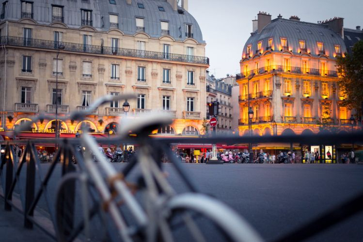paris france bicycle city building wallpaper