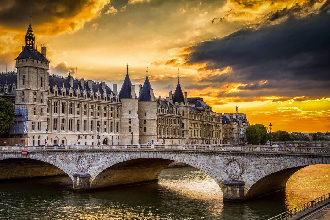 paris france Conciergerie bridge sunset river wallpaper