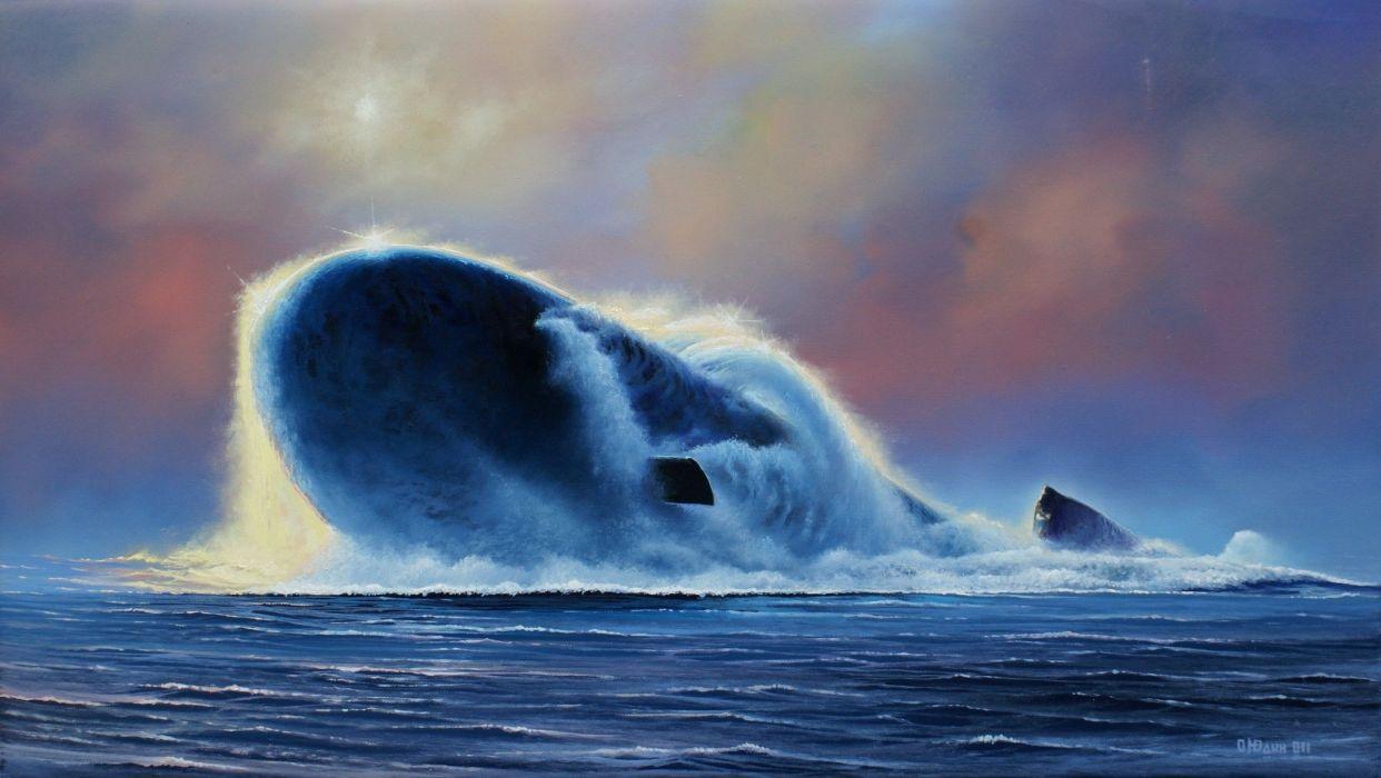painter painting Oleg Judah military submarine ocean sea artwork art wallpaper