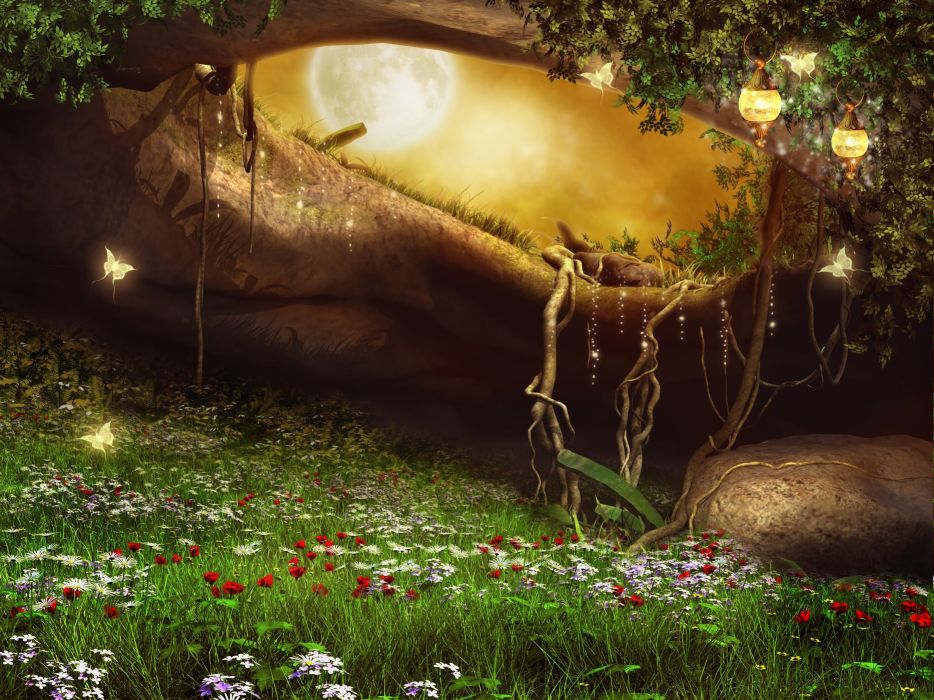 Photoshop forest artwork art meadow flower magical ...