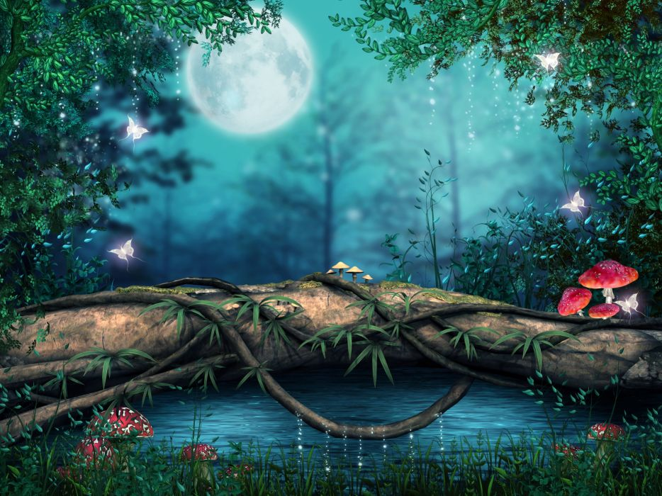 photoshop lake forest artwork art mushroom magical butterfly wallpaper