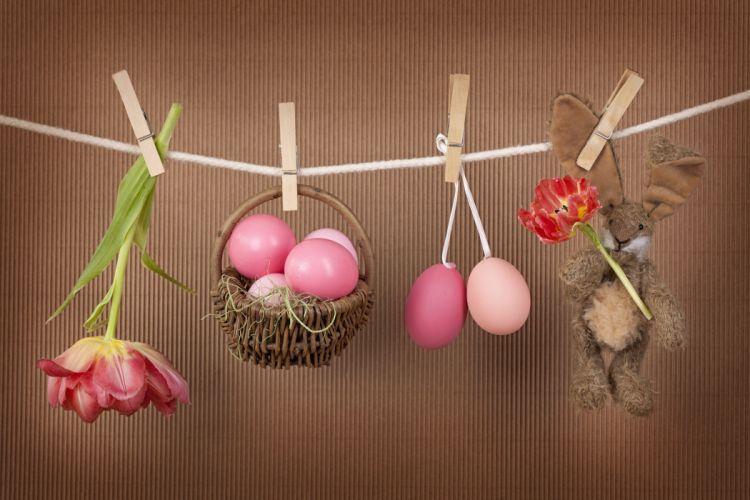 pin Easter Toys Tulips Eggs Wicker basket wallpaper