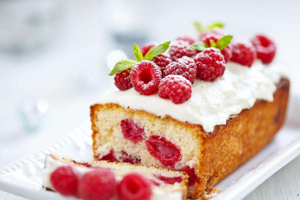 raspberries berries cake cream pastries dessert wallpaper