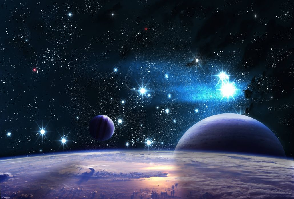reflection space planet stars wallpaper