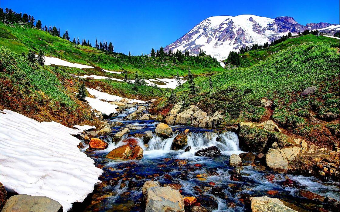 river mountains rocks landscape  f wallpaper