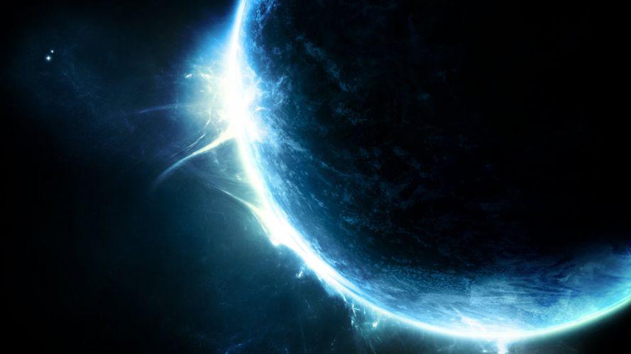 sci fi planet glitter dark blue wallpaper