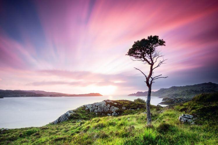 scotland great britain sunset water ocean sea lake wallpaper
