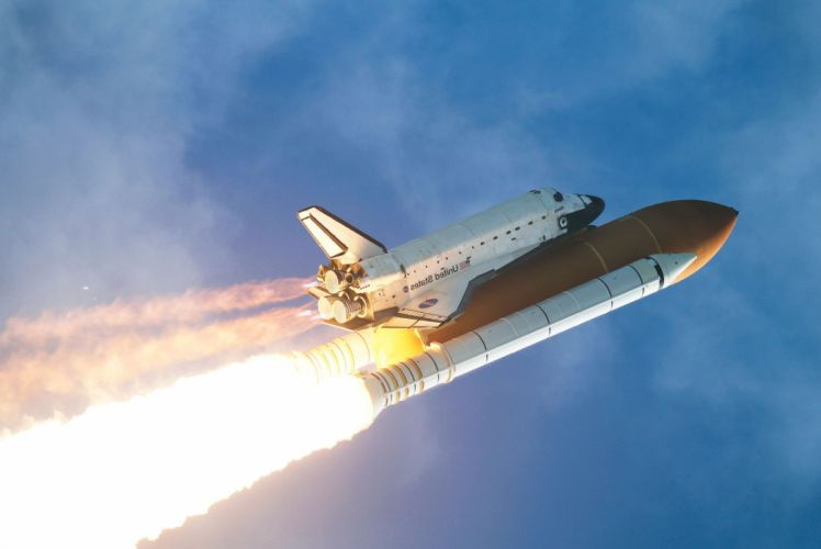 shuttle sky start Atlantis spaceship sci-fi nasa wallpaper