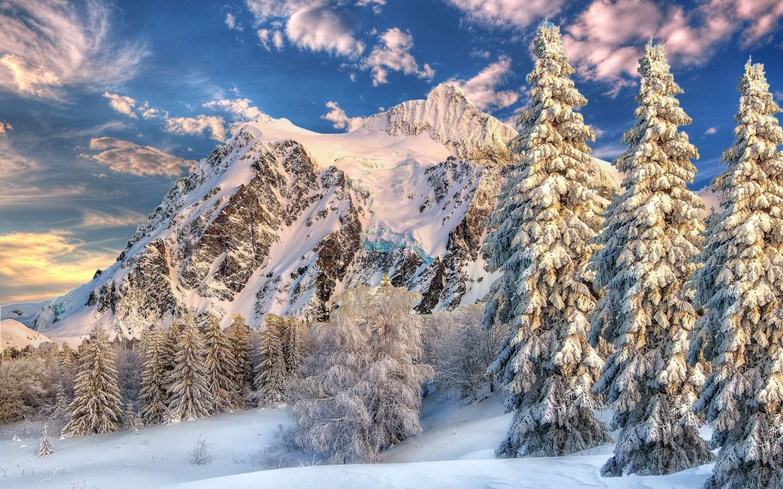 sky winter mountains trees landscape wallpaper