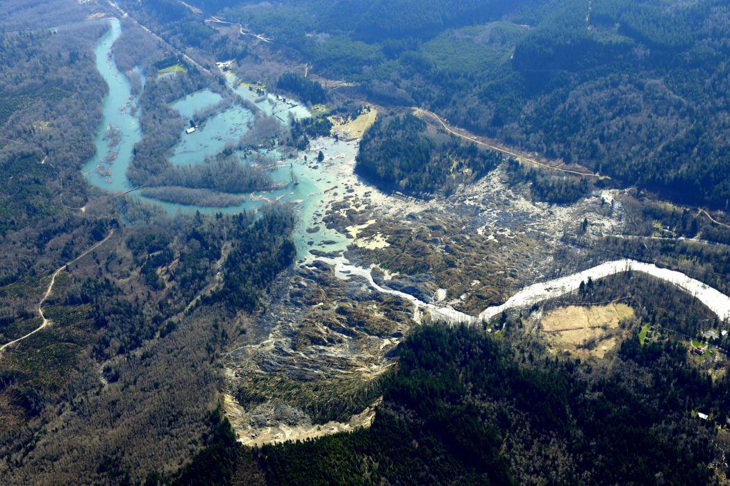 Snohomish Mudslide landslide nature natural disaster landscape forest river     r wallpaper