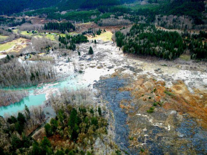 Snohomish Mudslide landslide nature natural disaster landscape forest river f wallpaper