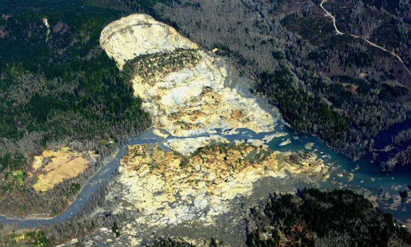 Snohomish Mudslide landslide nature natural disaster landscape forest washington river te wallpaper
