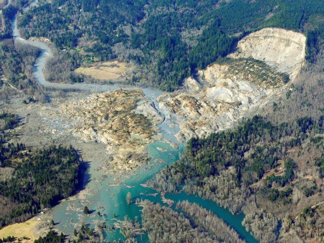Snohomish Mudslide landslide nature natural disaster landscape forest washington river g wallpaper