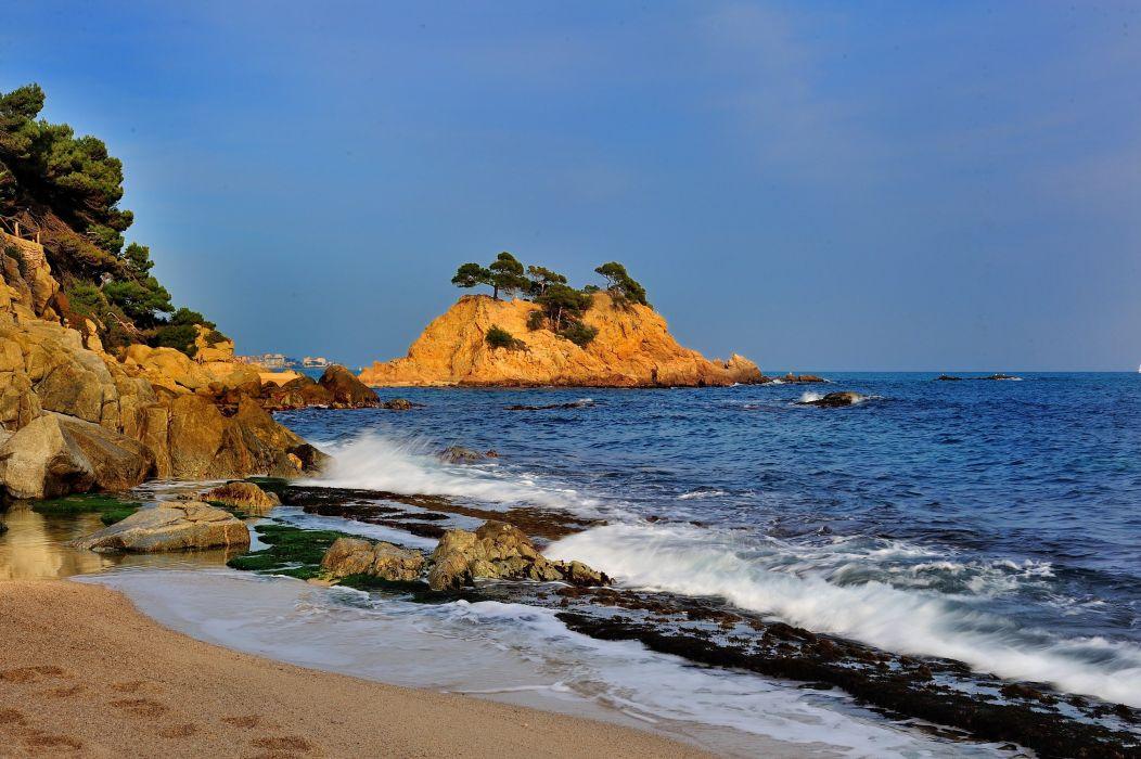 Spain Coast Sea Catalonia Nature beach ocean sea wallpaper