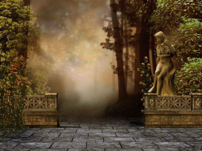 statue 3d art artwork statue forest wallpaper