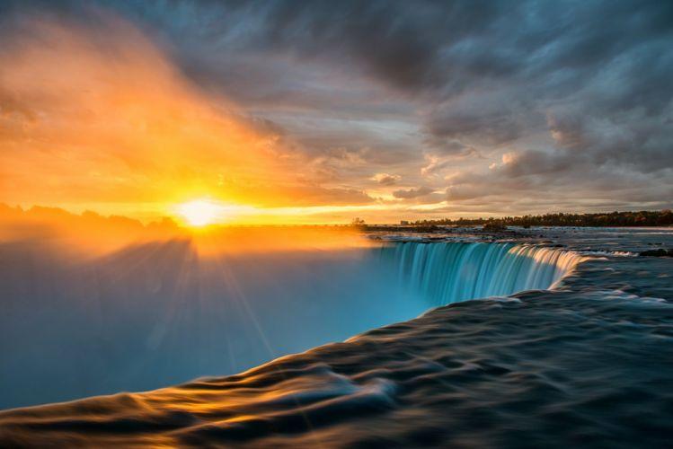 sun sunrise waterfall rays niagara wallpaper