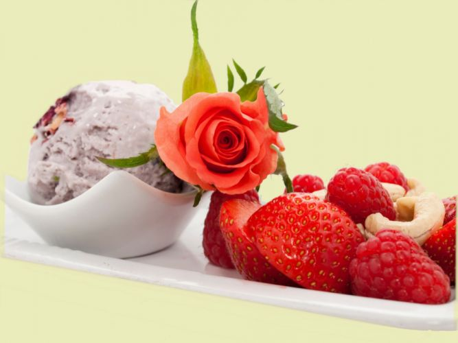 Sweets Ice cream Strawberry Roses Food dessert wallpaper
