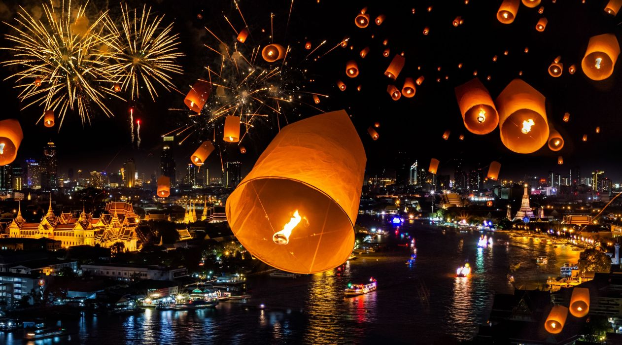 thailand bangkok bagkok fireworks city new year wallpaper