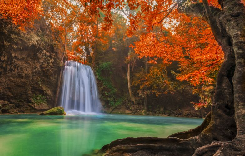 Thailand Waterfalls River Autumn Nature autumn wallpaper
