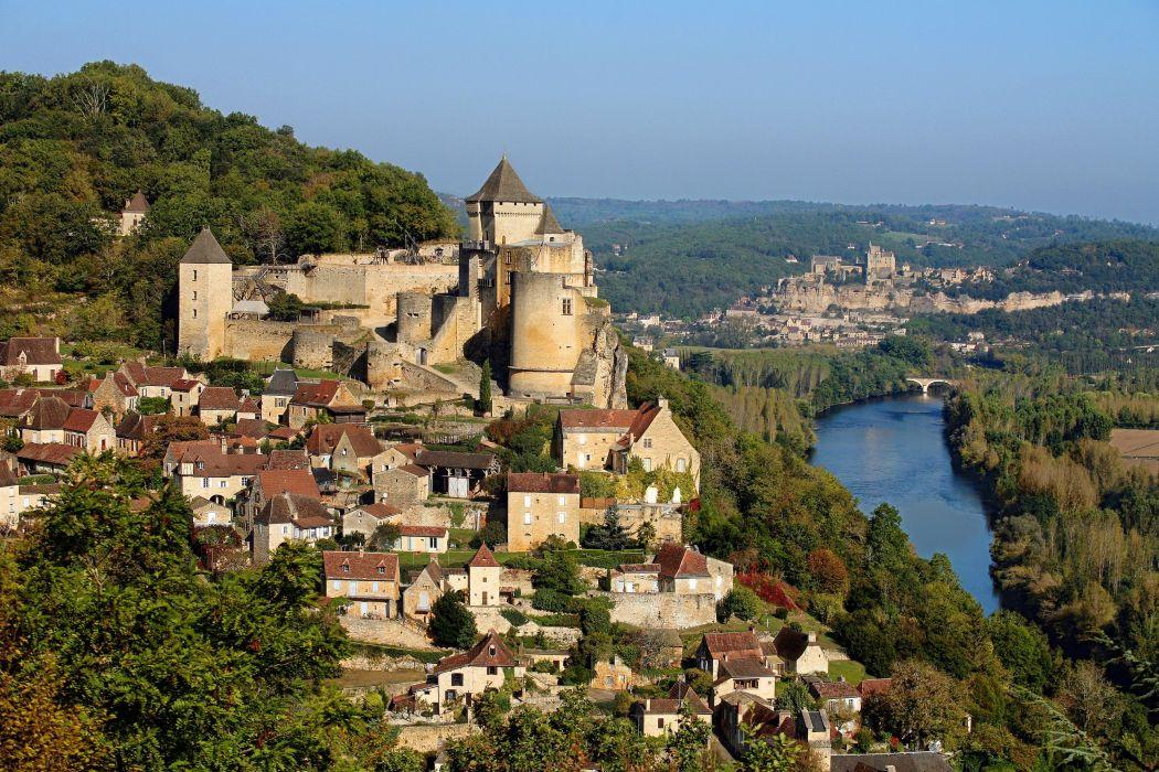 tees France House Castles River Castelnaud la Chapelle Cities wallpaper
