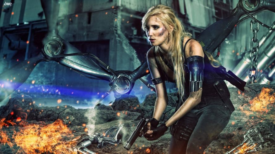 Terminator Sarah Connor Chronicles Battle Pistol Sarah Connor Robot Movies Girls cyborg weapon warrior wallpaper
