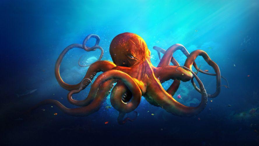Underwater world Animals octopus ocean sea fantasy artwork art wallpaper