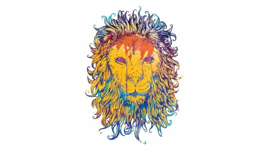 vector psychedelic lion cat minimal fantasy wallpaper