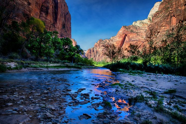 USA Parks Water Mountains Zion HDR Nature river wallpaper