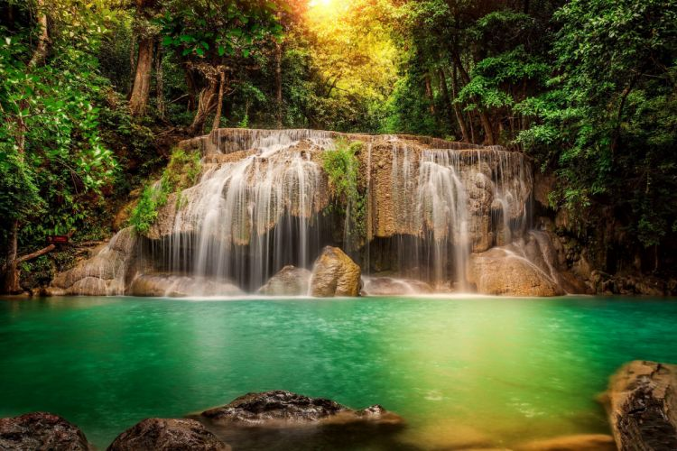 Waterfalls River Forests Nature wallpaper