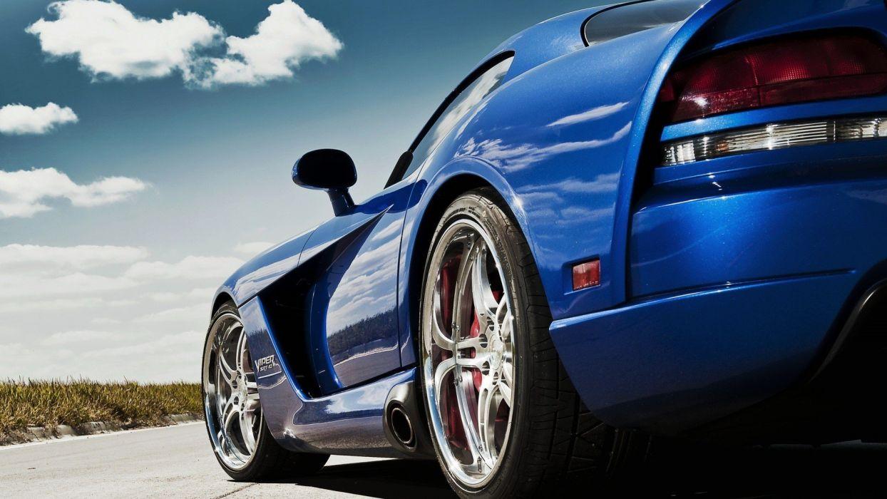 clouds cars Dodge roads Dodge Viper SRT-10 low-angle shot wallpaper
