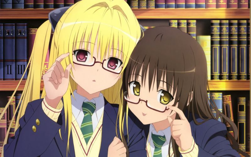 brunettes blondes school uniforms schoolgirls tie glasses To Love Ru Golden Darkness books red eyes short hair yellow eyes Yuuki Mikan meganekko purple eyes anime girls wallpaper