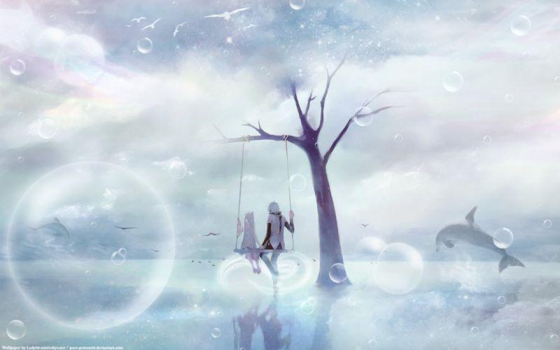 Vocaloid Hatsune Miku Kaito (Vocaloid) swings swingers wallpaper