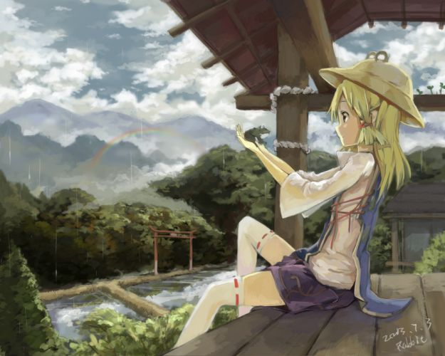 blondes water video games mountains clouds landscapes Touhou trees rain stockings animals skirts long hair ribbons buildings brown eyes Goddess rainbows thigh highs frogs scenic Moriya Suwako sitting torii Asian architecture soft shading profile hats anim wallpaper