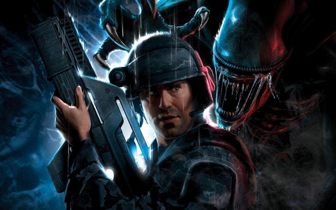 video games guns artwork Aliens Space Marine Aliens Colonial Marines wallpaper