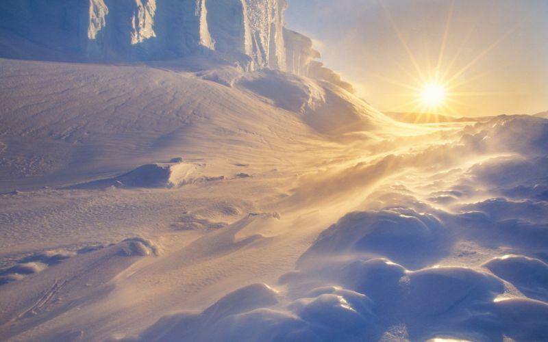 landscapes winter snow deserts Moon sunlight sun flare wallpaper