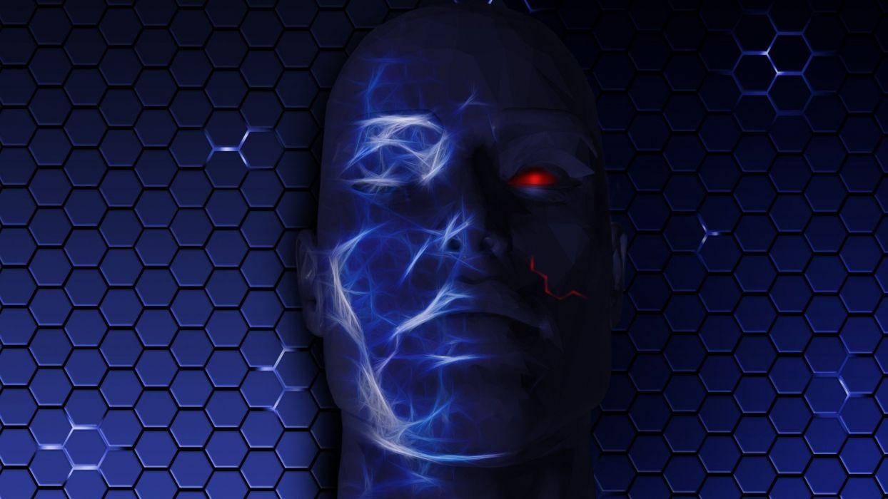 CGI red eyes faces Humanoid wallpaper