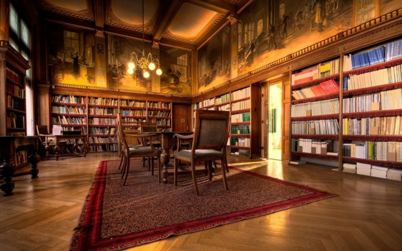 indoors room library brown books interior chairs bookshelf rugs wallpaper