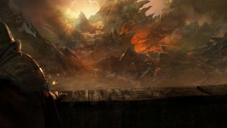 flames video games Sun fire video sunlight artwork Diablo III game wallpaper