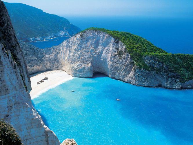 landscapes islands Greece Zakynthos beaches wallpaper