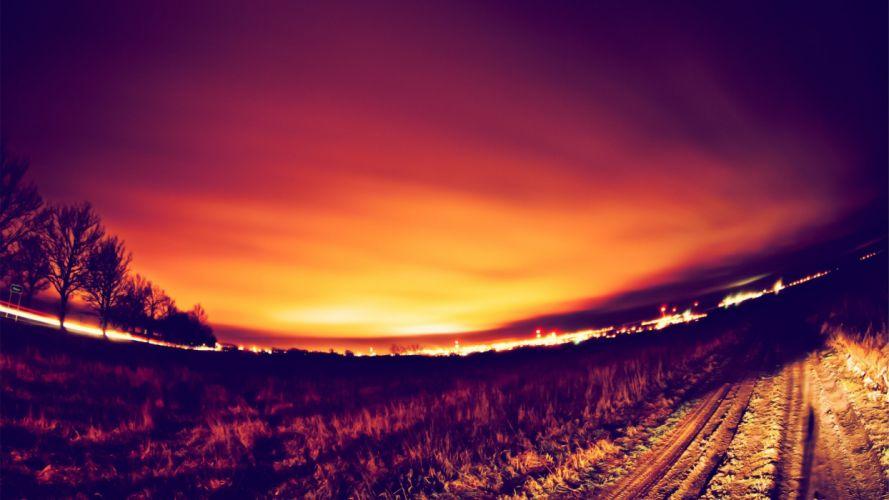 sunset landscapes nature roads fisheye effect depth of field photo filters wallpaper