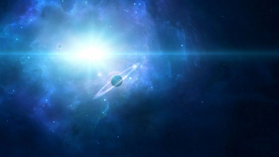 outer space stars planets nebulae rings wallpaper