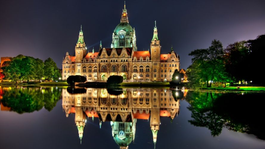cityscapes Germany towns skyscrapers city hall city skyline cities Hannover wallpaper